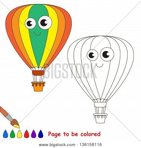 Aerostat to be colored. Coloring book to educate kids. Learn colors. Visual educational game. Easy kid gaming and primary education. Simple level of difficulty. Coloring pages.