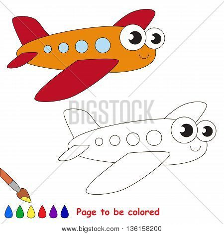 Red airplane to be colored. Coloring book to educate kids. Learn colors. Visual educational game. Easy kid gaming and primary education. Simple level of difficulty. Coloring pages.