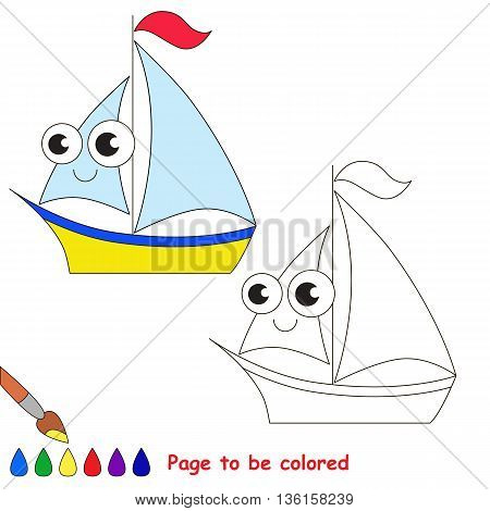 Yellow boat to be colored. Coloring book to educate kids. Learn colors. Visual educational game. Easy kid gaming and primary education. Simple level of difficulty. Coloring pages.