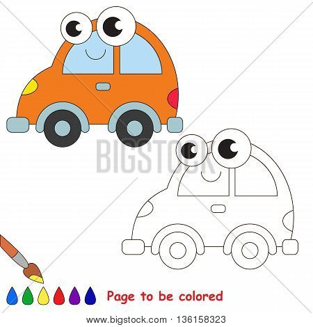 Orange car to be colored. Coloring book to educate kids. Learn colors. Visual educational game. Easy kid gaming and primary education. Simple level of difficulty. Coloring pages.