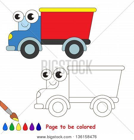 Red truck to be colored. Coloring book to educate kids. Learn colors. Visual educational game. Easy kid gaming and primary education. Simple level of difficulty. Coloring pages.