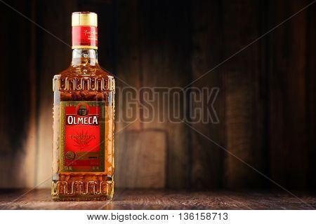 Bottle Of Olmeca Tequila Gold