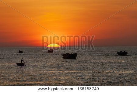 Hue, Vietnam, May 12, 2016 Sunset, Tam Giang lagoon, Hue, Vietnam