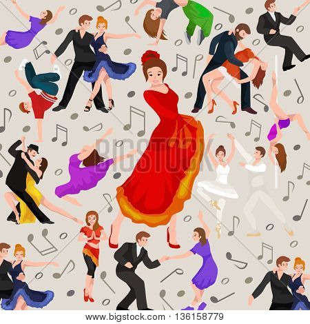 Seamless pattern. Dancing People, Dancer Bachata, Hiphop, Salsa, Indian, Ballet, Strip, Rock and Roll, Break, Flamenco, Tango, Contemporary, Belly Dance Pictogram Icon Dancing style of design concept set vector illustration set