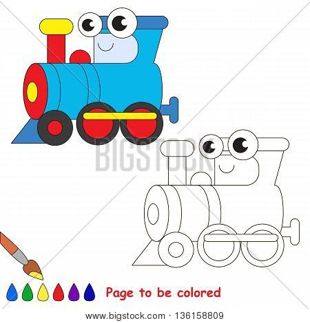 Blue locomotive to be colored. Coloring book to educate kids. Learn colors. Visual educational game. Easy kid gaming and primary education. Simple level of difficulty. Coloring pages.