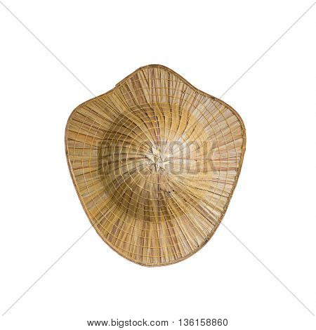 Top view of Asian conical hat isolated on white background.