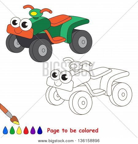 Green quad bike to be colored. Coloring book to educate kids. Learn colors. Visual educational game. Easy kid gaming and primary education. Simple level of difficulty. Coloring pages.