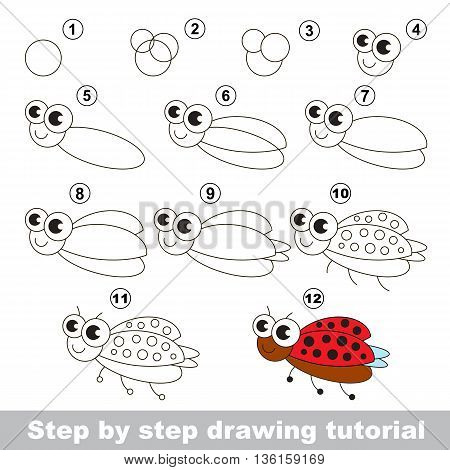 Drawing tutorial for children. Easy educational kid game. Simple level of difficulty. Kid education and gaming. How to draw Ladybird.