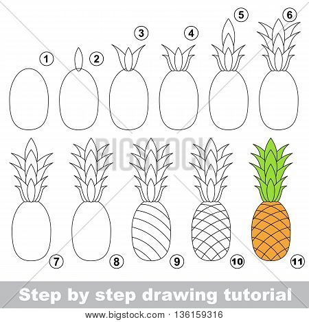 Drawing tutorial for children. Easy educational kid game. Simple level of difficulty. Kid education and gaming. How to draw Ripe Pineapple.
