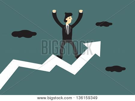 Cartoon businessman standing on a bold zig-zag up arrow with both hands raised in the air. Creative vector illustration for business concept.