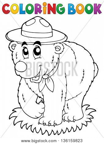Coloring book happy scout bear - eps10 vector illustration.