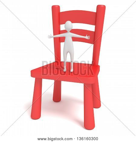 little hug man on a red wooden chair 3d illustration