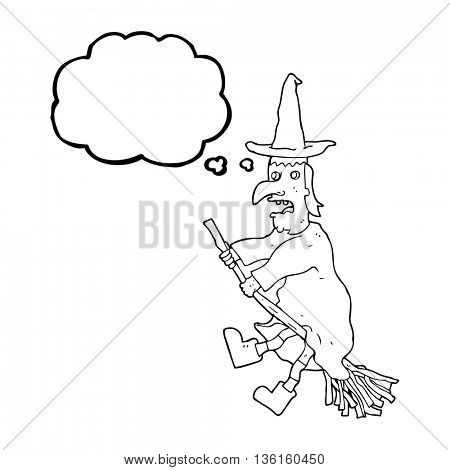 freehand drawn thought bubble cartoon witch flying on broom