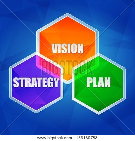 vision, strategy, plan - business growth concept words in color hexagons over blue background, flat design, vector
