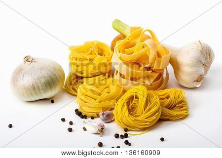dry pasta spaghetti with ingredient. Food .