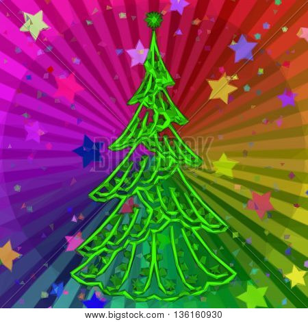 Christmas Green Fir Tree, Holiday Contour Symbol on Abstract Rainbow Background, Low Poly Pattern. Vector