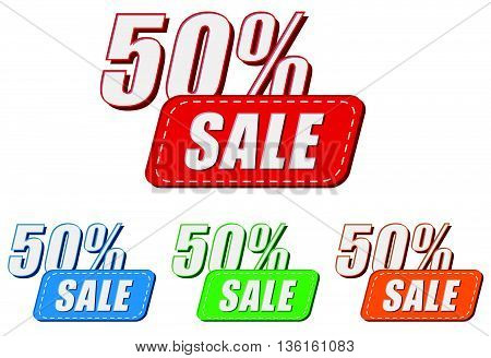 50 percentages sale, four colors labels, flat design, business shopping concept, vector