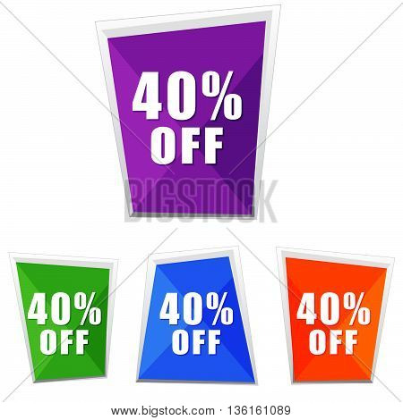 40 percentages off, four colors labels, flat design, business shopping concept, vector