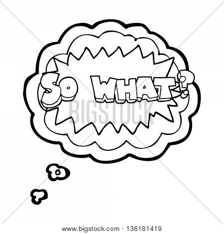 so what freehand drawn thought bubble cartoon sign