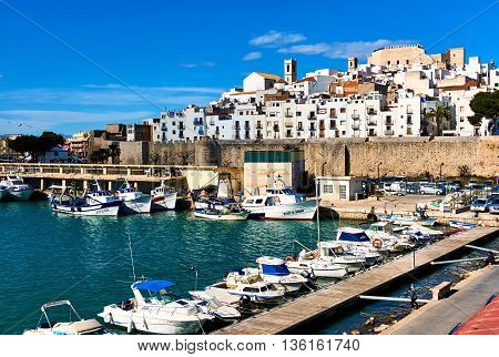 Peniscola Spain - March 27 2016: Harbor and old town of Peniscola. Costa del Azahar province of Castellon Valencian Community. Spain