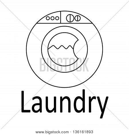 Modern logo Laundry. Thin black line. Vector illustration