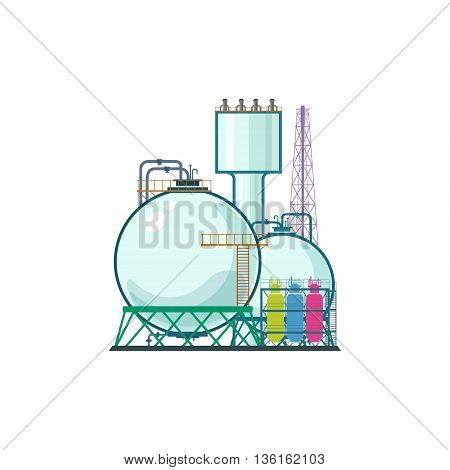 Industrial Plant Isolated on White Background, Refinery Processing of Natural Resources ,Industrial Pipes and Tanks, Chemical Industry ,Vector Illustration