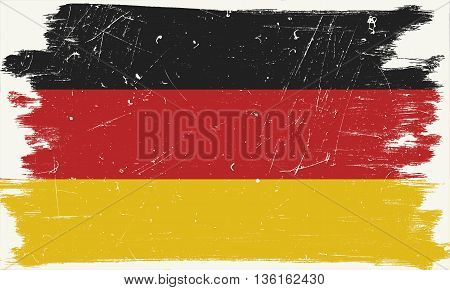 German flag with grunge border and texture.Vector German flag.
