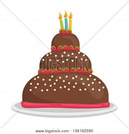 Dessert and celebration concept represented by sweet cake with candles icon. isolated and flat illustration