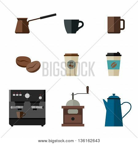 Coffee flat icons. Simple icons coffee machine, cups, coffee beans and coffee pots.