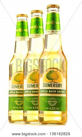 Bottles Of Somersby Cider Drink Isolated On White