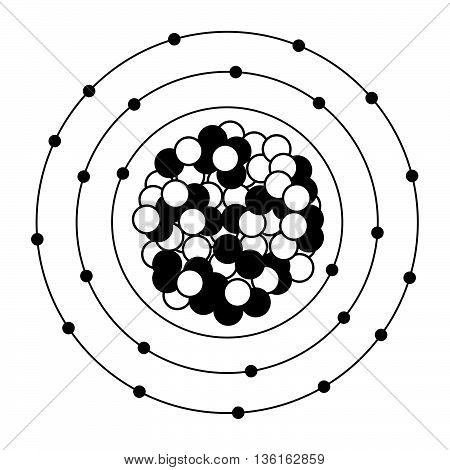 Electrical schematic of a heavy atom on white background