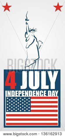 4th of July American independence day abstract vector banner