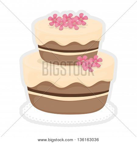 Dessert and celebration concept represented by sweet cake with flowers icon. isolated and flat illustration