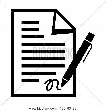 Signing a document with a pen, black and white