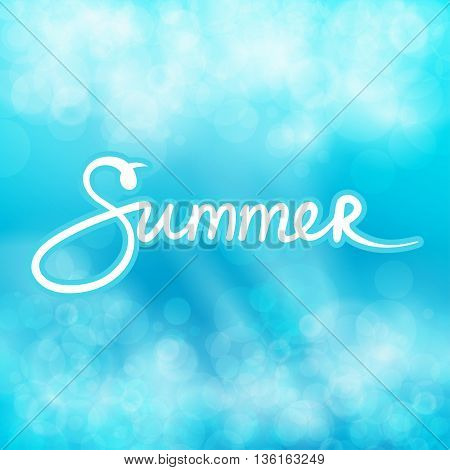 Blue Abstract Background with Text Summer, Soft Glow of the Sun, Summer Concept, Hand Lettering Calligraphy , Vector Illustration