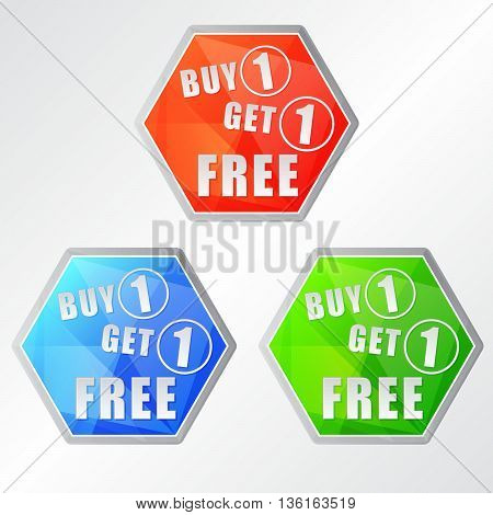 buy one get one free, three colors hexagons labels, flat design, business shopping concept, vector