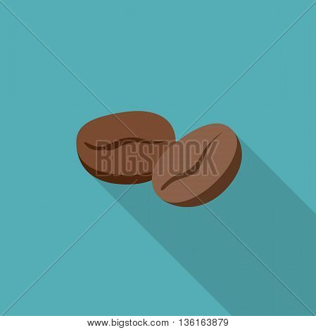 Coffee beans flat icon. Simple illustration of coffee beans with long shadow