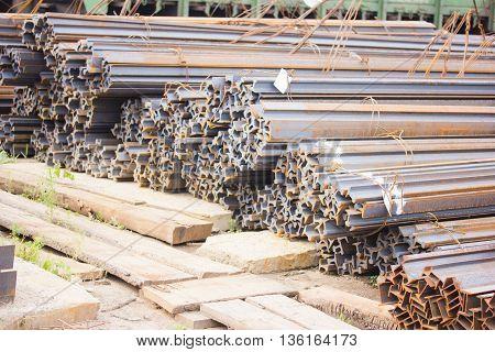 Metal pipe stack on warehouse, metallic, aluminum