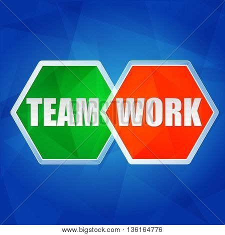 teamwork in color hexagons over blue background, flat design, business team building concept, vector