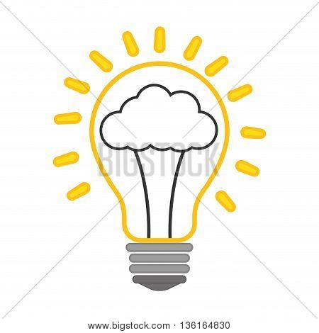 Thinking concept represented by Positive feeling on light bulb icon. isolated and flat illustration