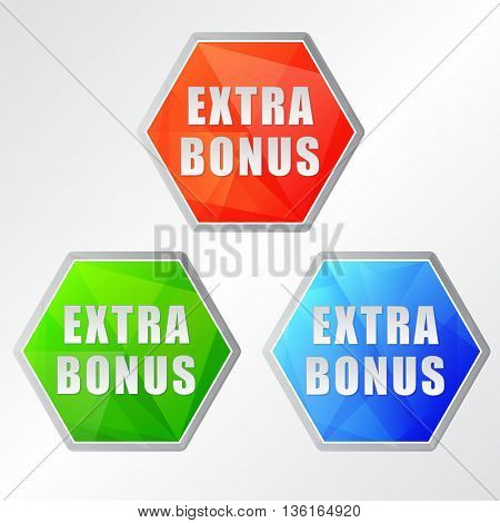extra bonus, three colors hexagons labels, flat design, business shopping concept, vector