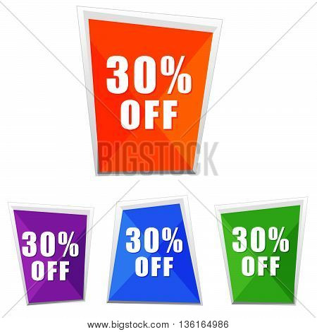 30 percentages off, four colors labels, flat design, business shopping concept, vector