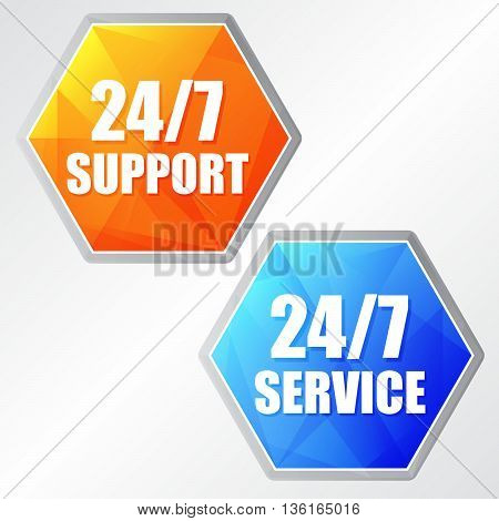 24/7 service, two colors hexagons labels, flat design, business support concept, vector