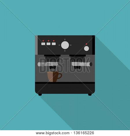 Coffee machine icon. Flat illustration of coffee maker with long shadow.