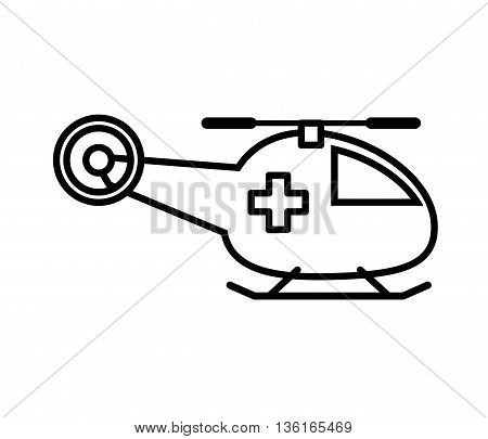 Security and insurance concept represented by helicopter icon. isolated and flat illustration