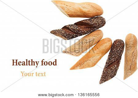 Cut baguette bread of different varieties on a white background. Rye wheat and whole grain bread. Isolated. Decorative frame of bread. Food background. Copy space.