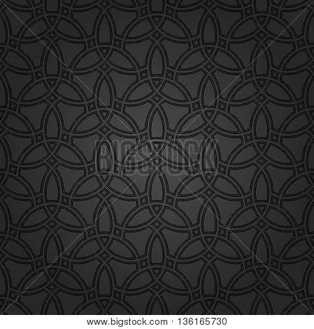 Geometric black grid. Seamless fine abstract pattern