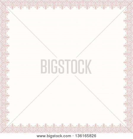 Classic pink square frame with arabesques and orient elements. Abstract fine ornament with place for text
