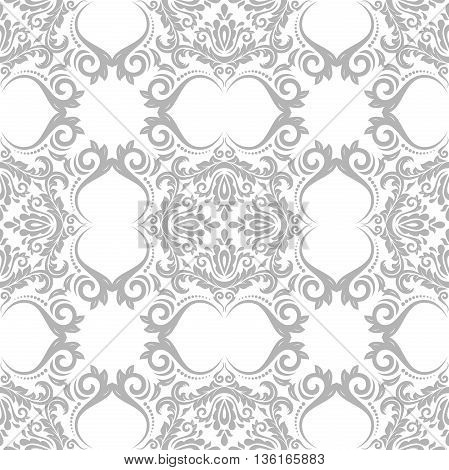 Oriental classic light silver ornament. Seamless abstract background