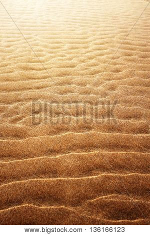 Background of golden sand with rippled pattern at low tide